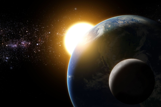 sunrise to the earth and moon in galaxy space element funished b